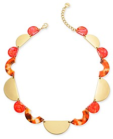 "Gold-Tone & Marble-Look Collar Necklace, 19-1/2"" + 3"" extender, Created for Macy's"