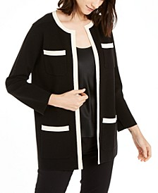 Paris Contrast-Trim Cardigan Sweater