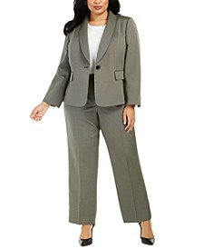 Plus Size Shawl-Lapel Pants Suit