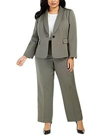 Plus Size Shawl-Lapel Pants Suit
