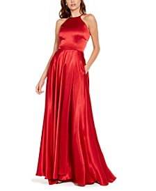 Juniors' Lace-Up Satin Gown