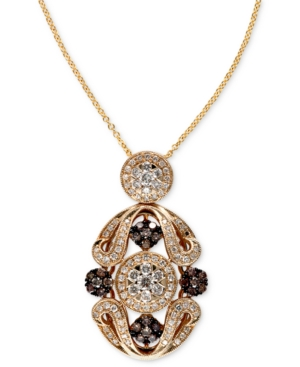 Espresso by Effy Brown (1/3 ct. t.w.) and White Diamond (5/8 ct. t.w.) Ornate Pendant in 14k Gold