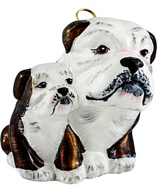 Bulldog Mother with Puppy- Brown & White..