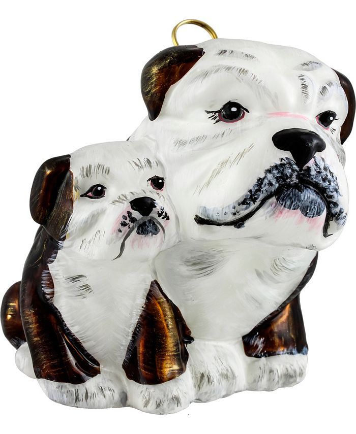 Joy to the World - Bulldog Mother with Puppy- Brown & White..