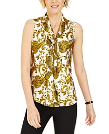 Paisley-Print Tie-Neck Top
