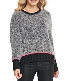 Contrast-Trim Fuzzy Sweater