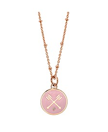 "Cubic Zirconia Arrow Enamel Pendant Rose Gold Two Tone Fine Plated Silver Necklace, 16""+2' Extender"