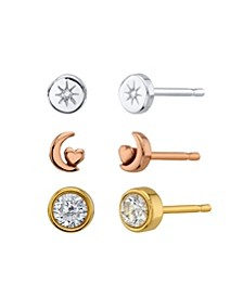 Star, Moon And Cubic Zirconia Round Tri-Tone Post Stud Set Earrings