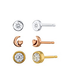 Unwritten Star, Moon And Cubic Zirconia Round Tri-Tone Post Stud Set Earrings