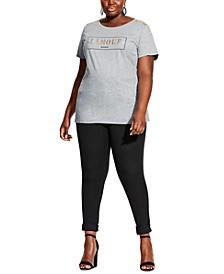 Trendy Plus Size Button Shoulder Top