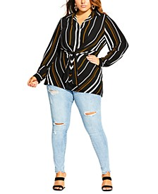 Trendy Plus Size Golden Stripe Tunic