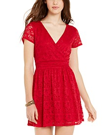 Juniors' Lace A-Line Dress, Created for Macy's
