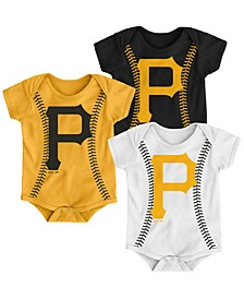 Baby Pittsburgh Pirates Running Home 3 Piece Bodysuit Set