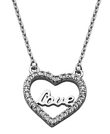 LOVE Cubic Zirconia Heart Necklace in Fine Silver Plate