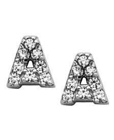 Mini Initial Stud Cubic Zirconia Earrings