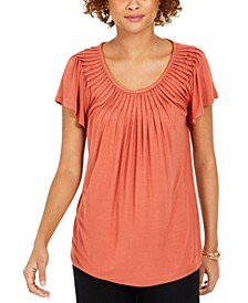 Pleated-Neck Flutter-Sleeve Top, Created for Macy's