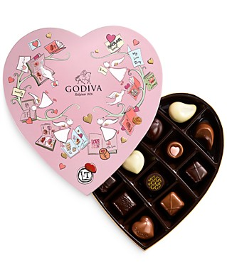 Godiva Valentine's Day 14-Piece Paper Heart Candy Box