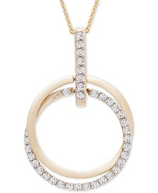 "Diamond Double Circle 20"" Pendant Necklace (1/2 ct. t.w.) in 14k Gold, Created for Macy's"