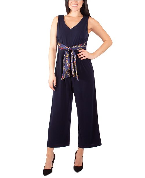 NY Collection Petite Printed-Tie-Belt Jumpsuit