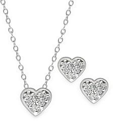 Children's  Crystal Heart Pendant Necklace Stud Earrings Set in Sterling Silver