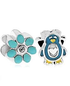 Children's  Enamel Penguin Flower Bead Charms - Set of 2 in Sterling Silver