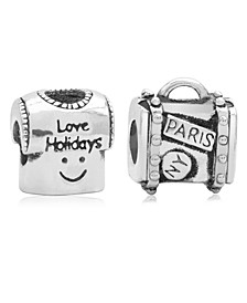 Children's  Holiday Travels Bead Charms - Set of 2 in Sterling Silver