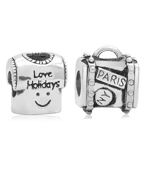 Rhona Sutton Children's  Holiday Travels Bead Charms - Set of 2 in Sterling Silver