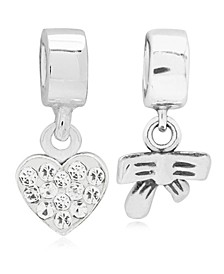 Children's  Heart Bow Drop Charms - Set of 2 in Sterling Silver