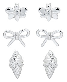 Children's  Bumble Bee, Bow, Ice Cream Stud Earrings - Set of 3 in Sterling Silver