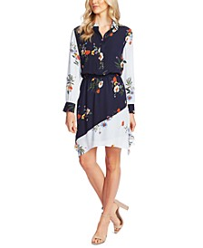 Floral Print-Blocked Shirtdress