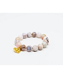 Pink Opal Gemstone with Hammered Gold Charm Bracelet