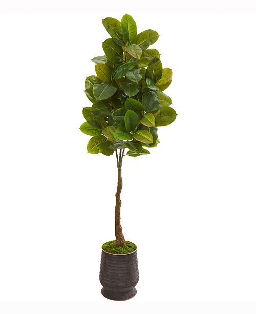 Nearly Natural 68in. Rubber Leaf Artificial Tree in Ribbed Metal Planter Real Touch