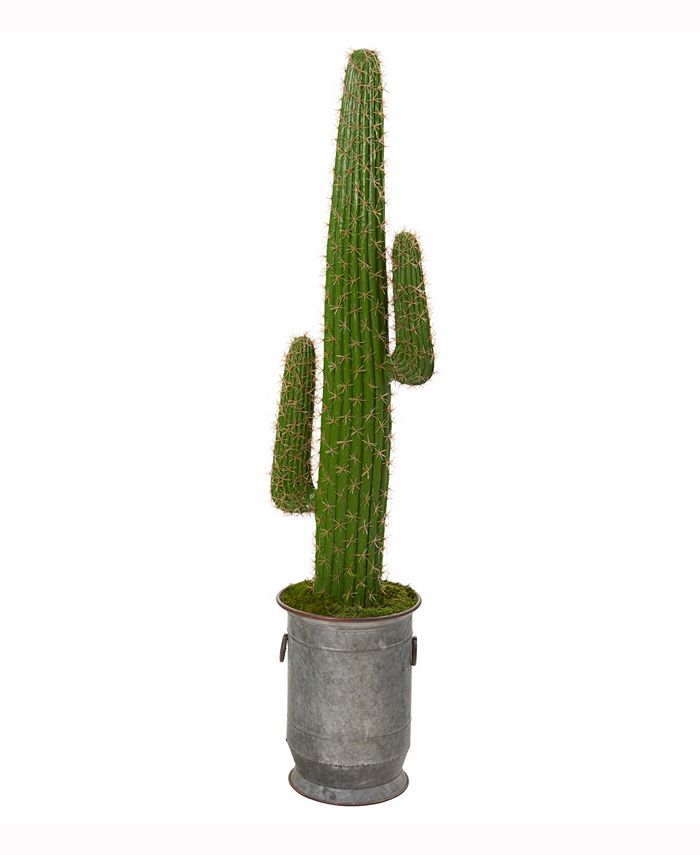 Nearly Natural - 64in. Cactus Artificial Plant in Copper Trimmed Metal Planter