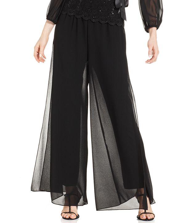 Alex Evenings Petite Straight-Leg Overlay Pants