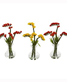 10in. Baby Breath Artificial Arrangement in Vase Set of 3