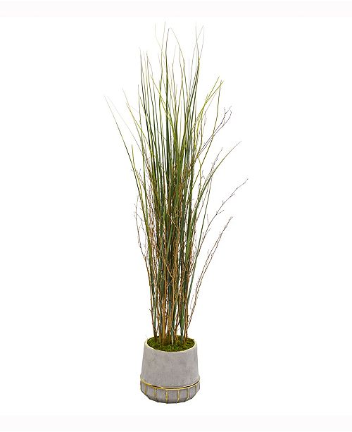 Nearly Natural 41in. Grass and Bamboo Artificial Plant in Planter with Gold Trimming