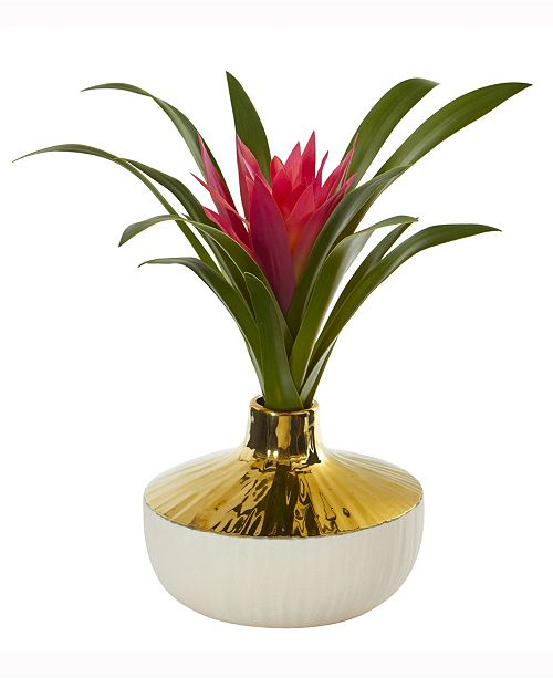 Nearly Natural 13in. Ginger Artificial Plant in Gold and Cream Elegant Vase