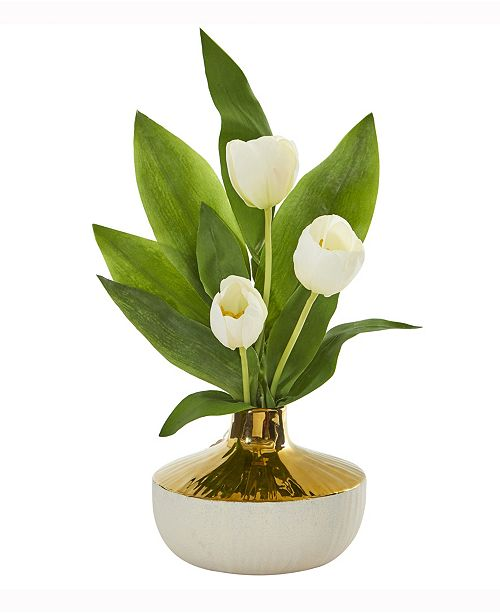 Nearly Natural 18in. Tulip Artificial Arrangement in Gold and Cream Elegant Vase