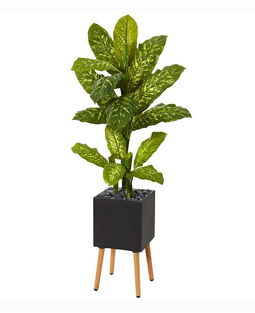 Nearly Natural 52in. Dieffenbachia Artificial Plant in Black Planter with Stand Real Touch