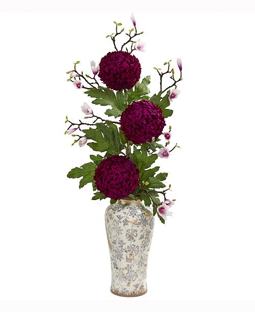Nearly Natural 45in. Magnolia and Mum Artificial Arrangement in Floral Vase