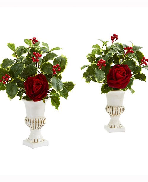 Nearly Natural 15in. Rose and Holly Leaf Artificial Arrangement in White Urn Set of 2