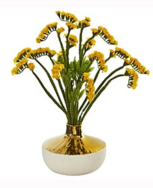 17in. Baby Breath Artificial Arrangement in Gold and Cream Elegant Vase