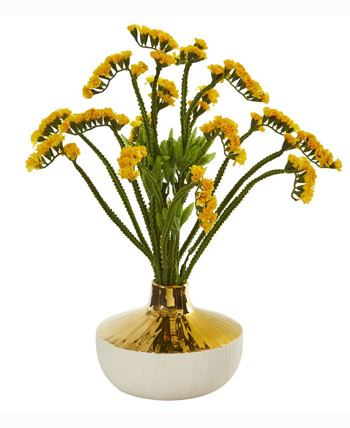 Nearly Natural - 17in. Baby Breath Artificial Arrangement in Gold and Cream Elegant Vase