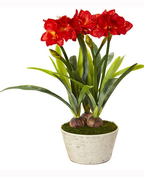 Nearly Natural 32in. Amaryllis Artificial Plant in White Planter