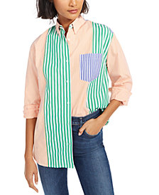 French Connection Adisa Striped Colorblocked Shirt