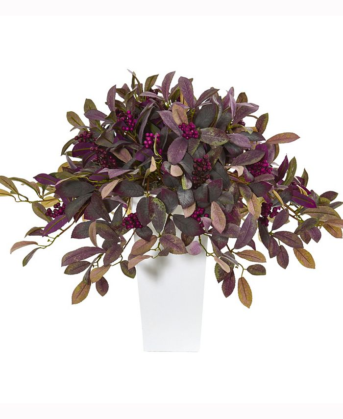 Nearly Natural - 23in. Fall Laurel Leaf with Berries Artificial Plant in White Planter