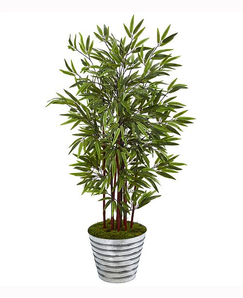Nearly Natural 57in. Bamboo Artificial Tree in Decorative Tin Bucket