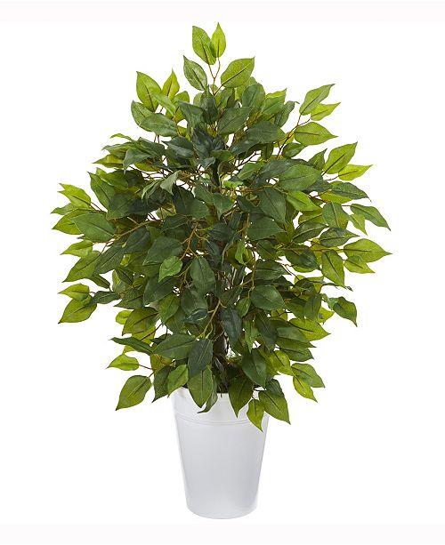 Nearly Natural 16in. Mini Ficus Artificial Tree in White Planter