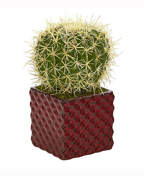 Nearly Natural 12in. Cactus Succulent Artificial Plant in Red Ceramic Vase