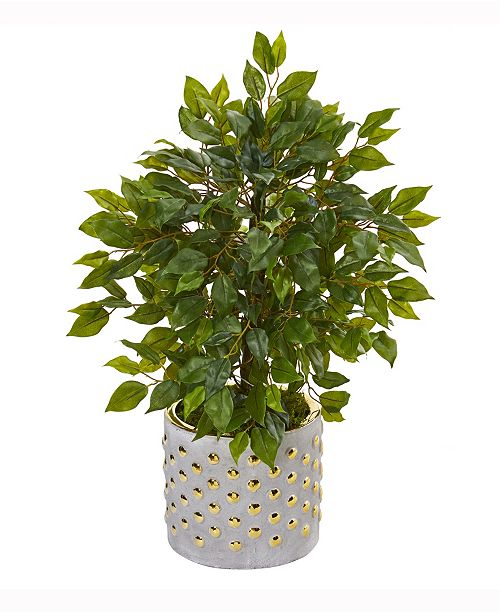Nearly Natural 17in. Mini Ficus Artificial Tree in Stoneware Vase with Gold Trimming